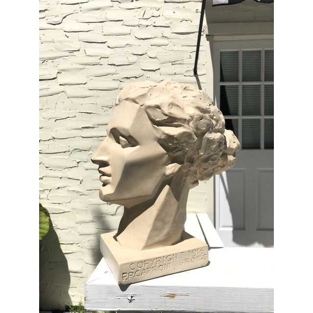 Art Deco Mid 20th Century Vintage Caproni Brothers Plaster Sculpture For Sale - Image 3 of 7