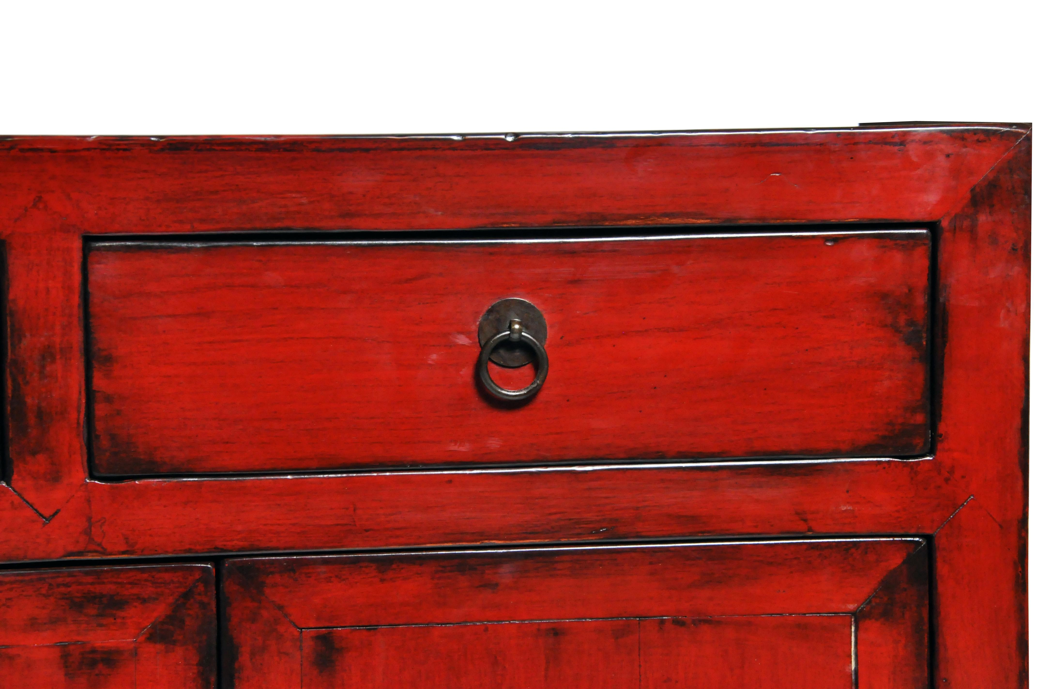 red lacquered furniture. Red Lacquered Chinese Sideboard With Five Drawers And Three Shelves For Sale - Image 8 Furniture