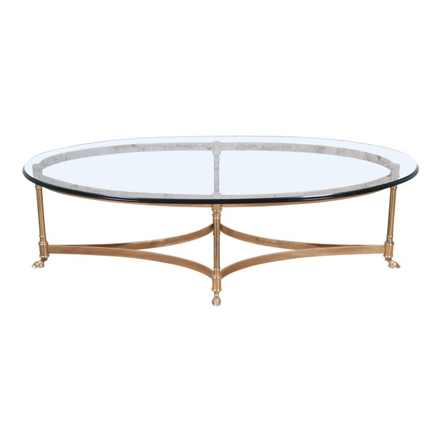 Labarge Mid-Century Hollywood Regency Brass and Glass Hooved Feet Coffee Table For Sale