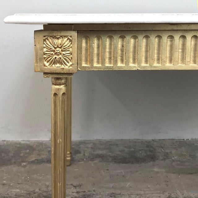 Antique French Louis XVI Gilded Marble Top Coffee Table For Sale - Image 10 of 11