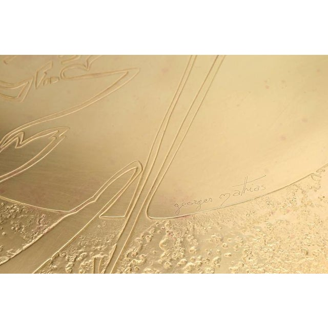 Asian George Mathias Brass Etched Coffee Table For Sale - Image 3 of 10