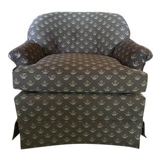 Upholstered Tufted Back Swivel Club Chair For Sale