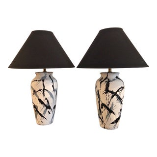 Vintage Jackson Pollock Style Splatter Glaze Lamps - a Pair For Sale