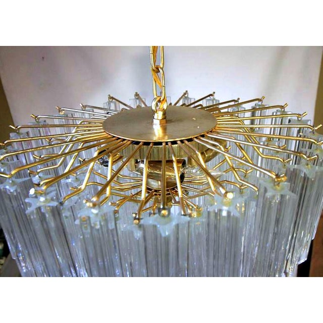 Gold 1970s Italian Quatro Punta Crystal Prism Chandelier For Sale - Image 8 of 10