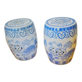 Chinoiserie Blue and White Garden Stools - a Pair For Sale