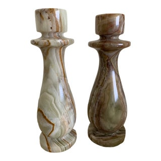 Vintage Italian Marble Candle Stick Holders - Pair For Sale