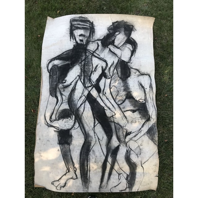 1950s Vintage Chalk Man & Woman Nudes Large Abstract Drawing For Sale - Image 4 of 9