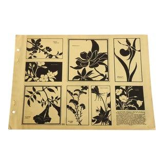 Flower Silhouette Designs Art Deco Print, 1930 For Sale