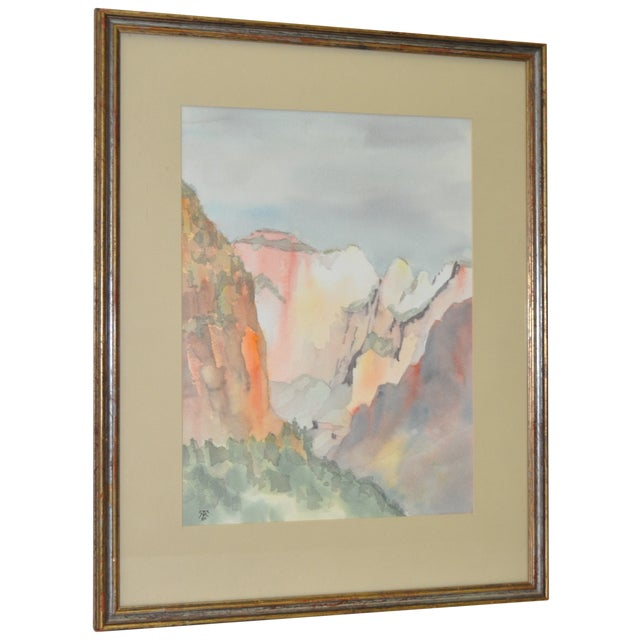 Western Mountain Landscape Watercolor C.1981 - Image 1 of 7