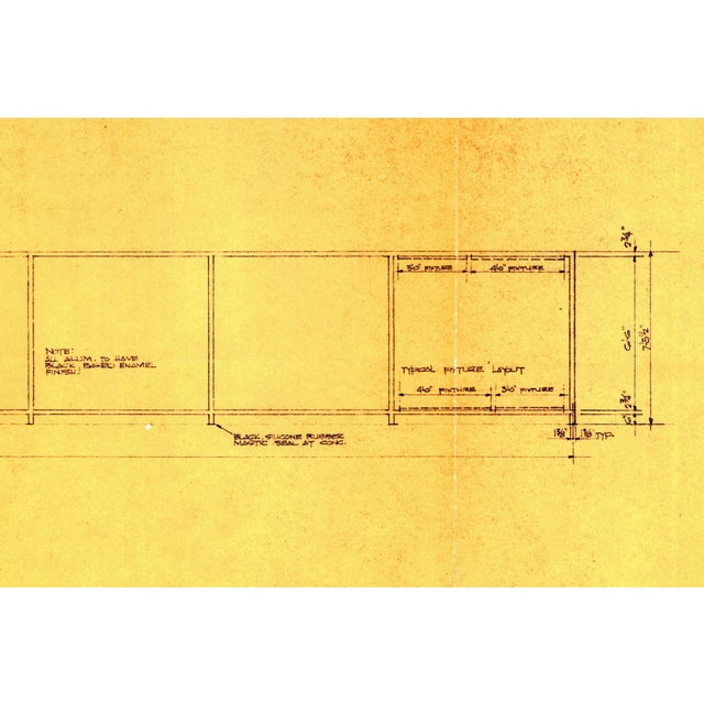 Ludwig Mies van der Rohe Original Mies Van Der Rohe Blueprint From 1964, Illuminated Wall Details For Sale - Image 4 of 12