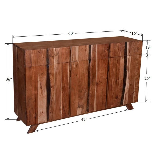 Baxter Three Drawer Acacia Wood Storage Sideboard For Sale - Image 9 of 9