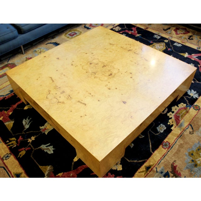 Mid Century Modern Milo Baughman Large Low Square Burl Wood Coffee Table 1970s For Sale In Detroit - Image 6 of 9