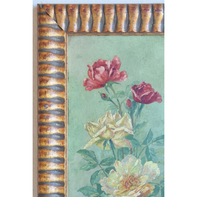 Shabby Chic Antique English Red & Yellow Roses Floral Oil Painting For Sale - Image 3 of 9