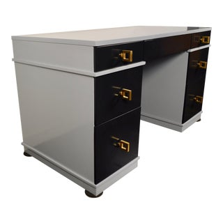 Mid Century Lacquered Double Pedestal Desk For Sale
