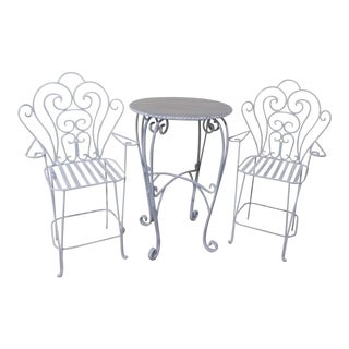 Iron Bistro Breakfast Patio Table & 2 Chairs For Sale