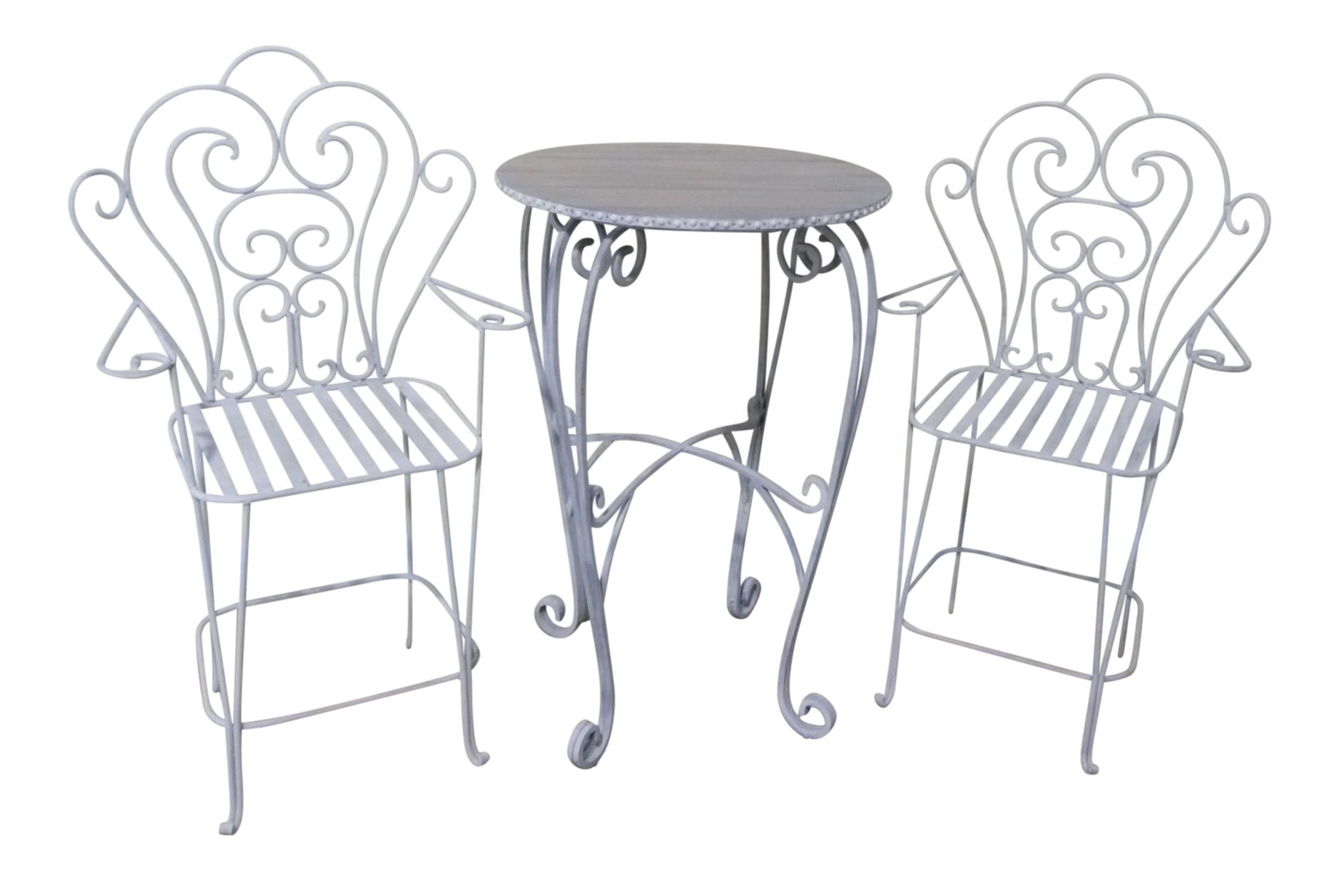 Iron Bistro Breakfast Patio Table U0026 2 Chairs