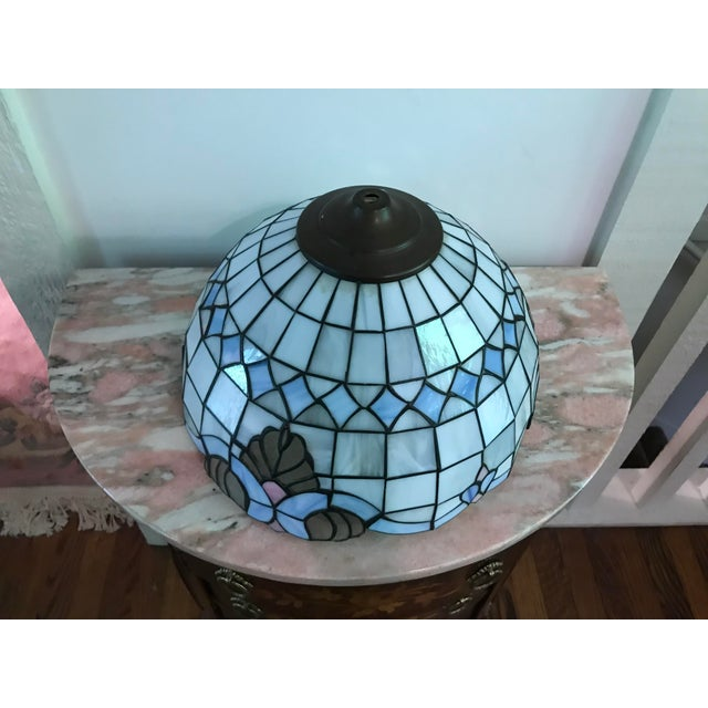 Art Deco Tiffany Style Vintage Stained Glass Lamp Shade, Brushed Gold Base,Victorian Boudoir, Reduced Final For Sale - Image 3 of 12