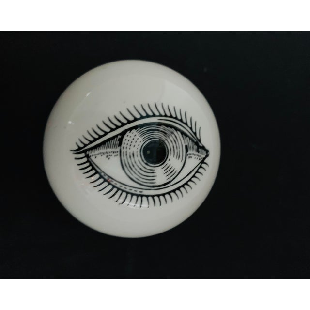 1960s Piero Fornasetti Surrealist Ceramic Eye Eyeball Paperweight For Sale - Image 11 of 11