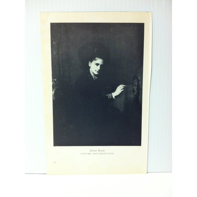 """This is a Vintage Famous Figure of the 19th Century Print on Paper that is titled """"Jennie Bryan"""". The Print was Published..."""