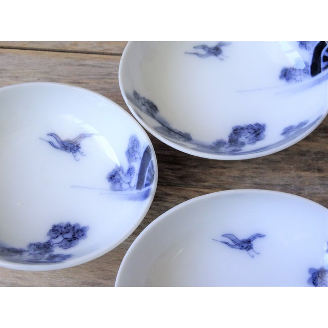 Vintage Japanese Blue and White Small Dishes - Set of 6 For Sale - Image 9 of 13