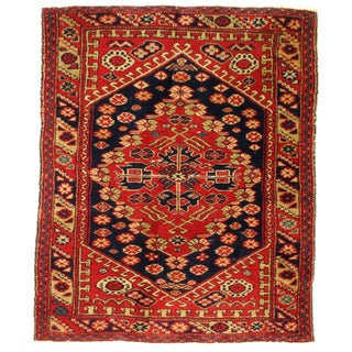 Antique Turkish Serapi Design Hand Knotted Wool Rug - 3′ × 3′7″ For Sale