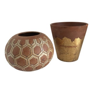 Boho Rustic Plant Vessels, Set of Two For Sale