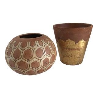 Boho Rustic Plant Vessels, Set of Two