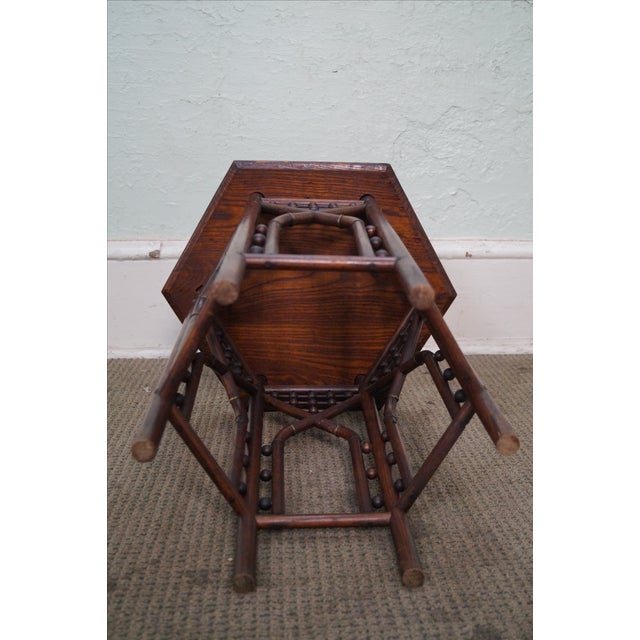 Antique Oak Stick & Ball Hexagon Taboret Plant Stand For Sale - Image 9 of 10