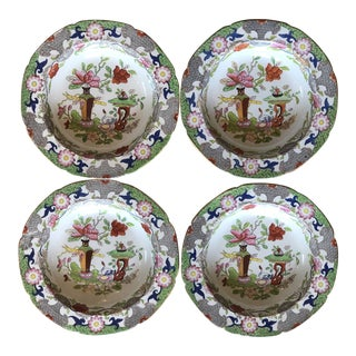 Antique Floral Detail Ironstone Bowls - Set of Four For Sale