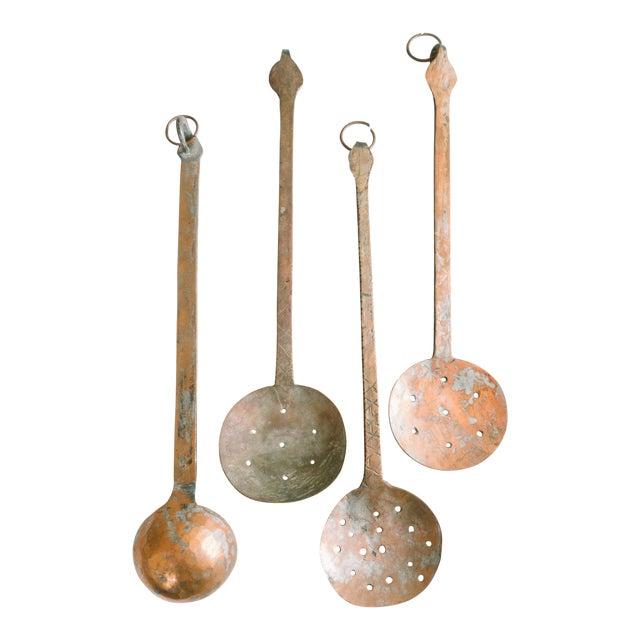 Vintage Hammered Copper Serving Spoons - Set of 4 For Sale