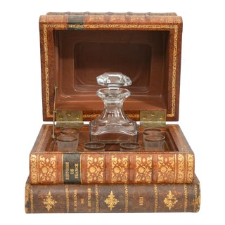 Antique French Liquor Tantalus of Books - 8 Piece Set For Sale