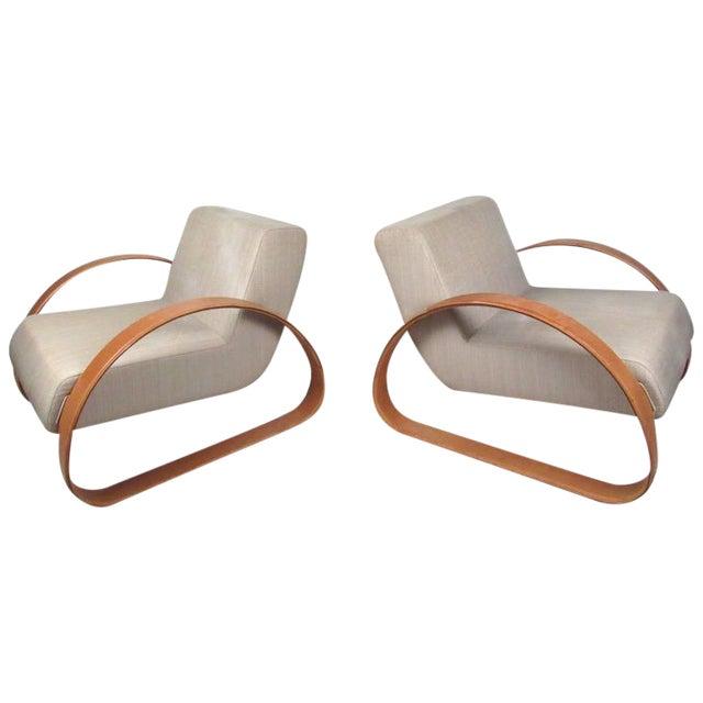 Armani Casa Modern Italian Lounge Chairs - A Pair For Sale