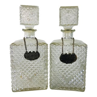 1960s Textured Square Glass Decanters - a Pair For Sale