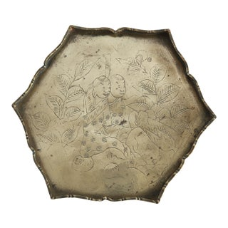 Asian Hexagon Etched Brass Tray