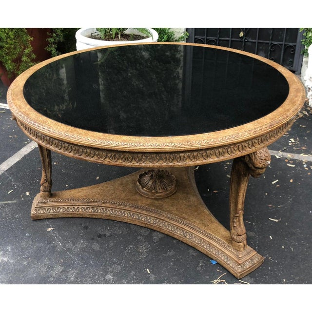 William Switzer Carved Italian Rams Head Center Table W Granite Top For Sale - Image 4 of 4