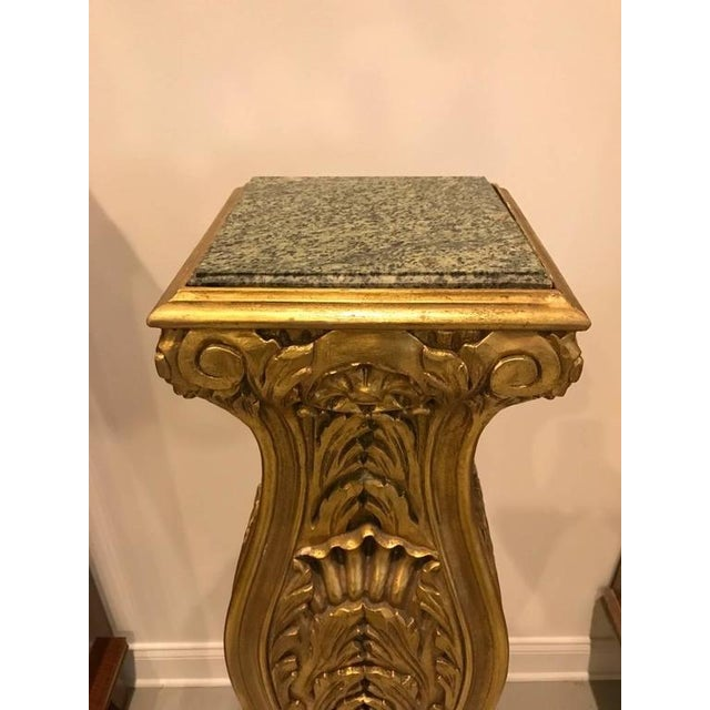 Mid-Century Modern Mid-Century Giltwood Pedestals with Marble Tops - A Pair For Sale - Image 3 of 8