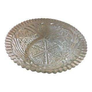 1950s Geometric Cut Glass Serving Bowl For Sale