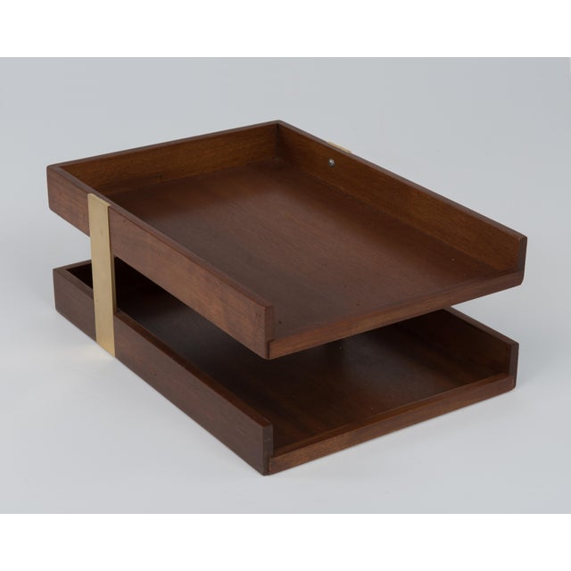 1970s Vintage Mid Century Brass Walnut Office Two Tier Letter Tray Organizer For Sale - Image 5 of 11