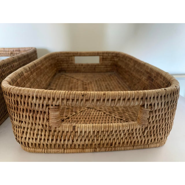 Rattan Woven Baskets - a Pair For Sale - Image 10 of 11
