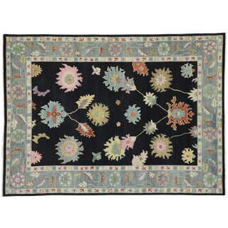 Contemporary Oushak Inspired Area Rug - 9′ × 12′3″ For Sale