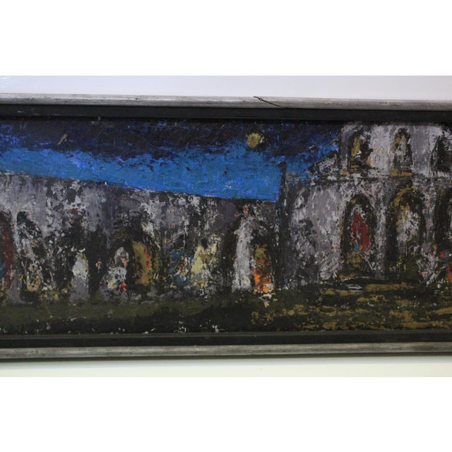 Vintage Mid-Century Kenneth Forman Village at Evening Painting For Sale In New York - Image 6 of 8