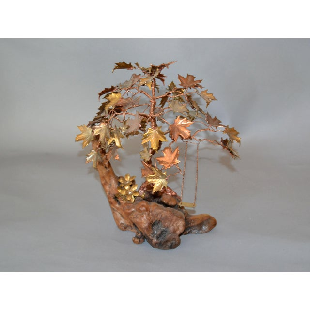 Handcrafted Bonsai Tree Brass, Copper, Bronze Sculpture on Burl Wood Base For Sale - Image 12 of 13