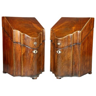 Pair of George III Mahogany Cutlery Boxes For Sale
