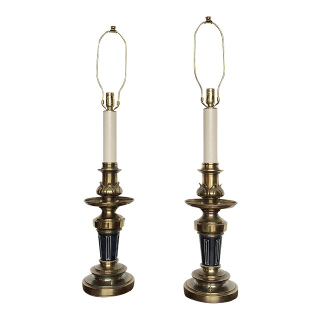 Vintage Stiffel Lamps >> Vintage Stiffel Brass Torch Table Lamps A Pair