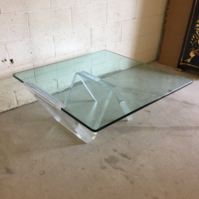 Contemporary Cantilevered Glass & Lucite Coffee Table For Sale - Image 3 of 10