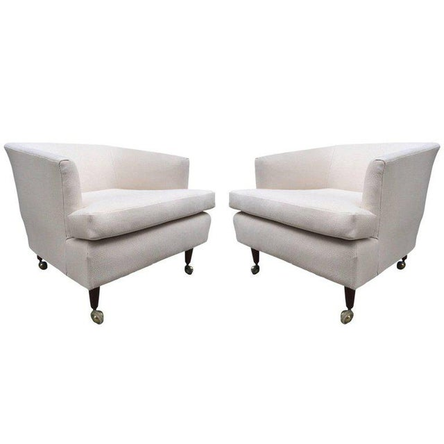 Linen Pair of Kipp Stewart for Directional Lounge Chairs For Sale - Image 7 of 7