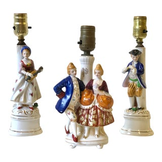 Porcelain Lamps With Musician and Dancer Figurines - Set of 3 For Sale