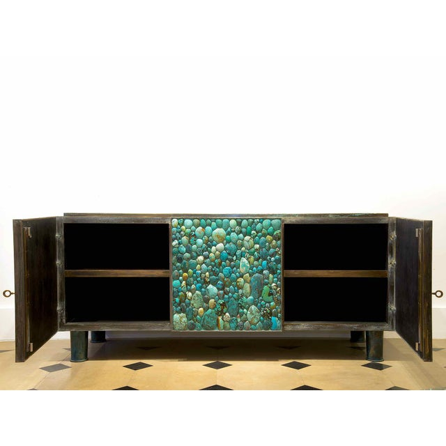 Contemporary Kam Tin - Sideboard Covered With Real Turquoise Cabochons, France, 2013 For Sale - Image 3 of 10