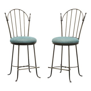 Charleston Forge Wrought Iron Shaker Arch Counter Height Swivel Stools - Pair For Sale