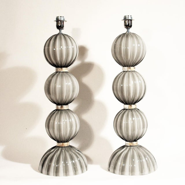 Murano Blown Glass Table Lamps - a Pair For Sale - Image 4 of 4